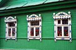 Architecture of Tutaev town, Russia. Wooden living house Stock Images