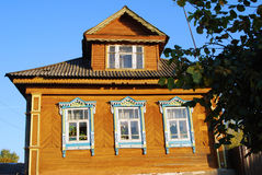 Architecture of Tutaev town, Russia. Wooden living house Stock Photography