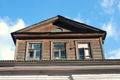 Architecture of Tutaev town, Russia. Wooden living house Stock Image