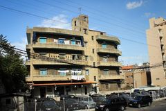 Architecture typique des banlieues de Beyrouth, Liban Images stock