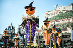 The Architecture and unidentified tourists are in Everland Resort, Yongin City, South Korea, on September 26, 2013 Royalty Free Stock Image