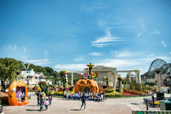The Architecture and unidentified tourists are in Everland Resort, Yongin City, South Korea, on September 26, 2013 Stock Images