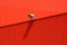 Architecture urban. Red wall of an industry building stock photo