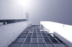 Architecture urban modern background in cold futuristic tones royalty free stock photography