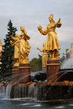 Architecture of VDNKh city park in Moscow. Fountain Friendship of peoples Stock Photo
