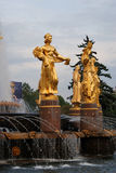 Architecture of VDNKh city park in Moscow. Fountain Friendship of peoples Royalty Free Stock Photos