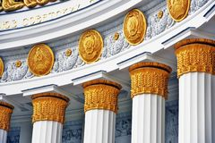 Architecture of VDNKH park in Moscow. Main Pavilion Number 0ne.