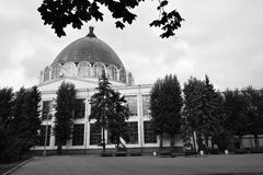 Architecture of VDNKH park in Moscow. Space pavillion royalty free stock photos