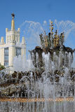 Architecture of VDNKH park in Moscow. Stone flower fountain Royalty Free Stock Photos