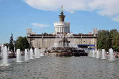 Architecture of VDNKH park in Moscow. Stone Flower fountain Stock Photos
