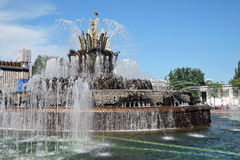 Architecture of VDNKH park in Moscow. Stone Flower fountain Royalty Free Stock Photo