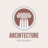 Architecture - vector logo template concept. Antique column abstract sign. Architectural order. Design element.  Stock Illustration