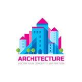 Architecture - vector logo template in flat style design. Real estate creative sign. Stock Photos