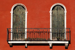 Architecture in Venice with balcony, Italy Stock Photo