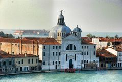 Venice, Italy. Basilica Santa Maria della Salute and Grand Canal Stock Photos
