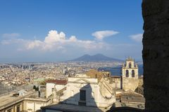 Architecture view of Naples city from Castle Sant`Elmo. In Italy royalty free stock images