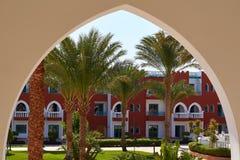 Architecture view thru arc of street in Hurghada, Egypt.  Stock Photos