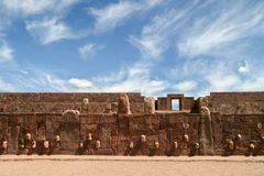 Architecture wall with stone faces of Tiwanaku, Bolivia royalty free stock photo
