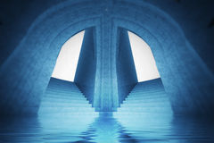 Architecture wallpaper scene of water spiritual cathedral interior view Royalty Free Stock Photography