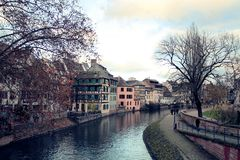 Architecture in waterfront in Alsace Royalty Free Stock Photography