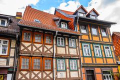 Architecture in Wernigerode, Germany. WERNIGERODE, GERMANY - MAY 4, 2015: Colorful houses in Wernigerode, Germany. Wernigerode was the capital of the district of royalty free stock photography