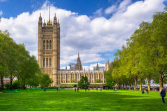 Architecture of the Westminster Palace in London. LONDON, ENGLAND - May 14, 2016: Architecture of the Westminster Palace in London, UK. The Palace of Westminster Stock Photography