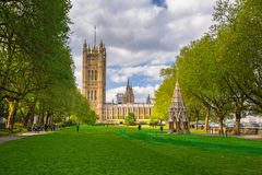 Architecture of the Westminster Palace in London. LONDON, ENGLAND - May 14, 2016: Architecture of the Westminster Palace in London, UK. The Palace of Westminster Royalty Free Stock Photography
