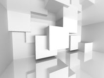 Architecture White Interior Design Background. 3d Render Illustration royalty free illustration