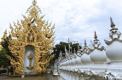 Architecture of white temple in Chiangrai Royalty Free Stock Photo