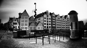Architecture in wide angle. Artistic look in black and white. Royalty Free Stock Photo