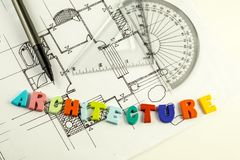 Architecture word and pen on blueprints and floor plan, architecture Stock Photography
