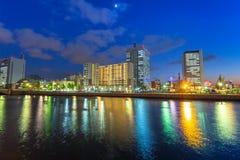 Architecture of Yokohama cityat night. Yokohama, Japan - November 6, 2016 : Architecture of Yokohama cityat night, Japan. Yokohama is the second largest city in Stock Photography