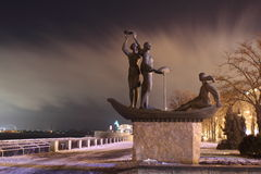Architecture young Dnepr. The sculpture depicts the girls in the boat youth of the city of Dnipropetrovsk royalty free stock photography