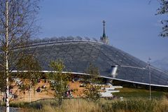 Architecture of Zaryadye park in Moscow. Popular landmark. stock images