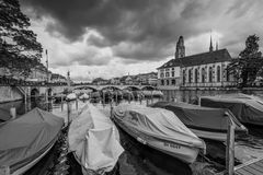 Architecture of Zurich in overcast rainy weather, Switzerland Stock Image
