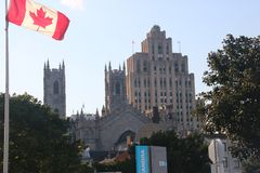ArchitectureFlag Canada Old Port Montreal Canada Royalty Free Stock Image