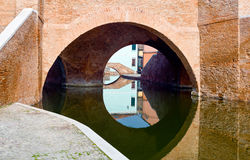 Architectures and canals of Comacchio. Italy, Comacchio, detail of the  Monumentale bridge  or Della Pallotta bridge XVII century Stock Photo