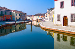 Architectures and canals of Comacchio. Italy, Comacchio, houses on the San Pietro canal Royalty Free Stock Image