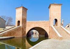 Architectures and canals of Comacchio. Italy, Comacchio, the  Monumentale bridge  or Della Pallotta bridge XVII century Stock Photos