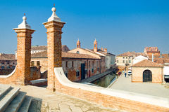 Architectures and canals of Comacchio. Italy, Comacchio, the town seen from the Monumentale bridge or Della Pallotta XVII century Royalty Free Stock Photography