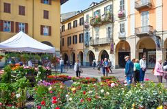 Architectures Of Casale Monferrato. Casale Monferrato, Italy - May 7, 2011:  Local people in Piazza Mazzini Stock Image