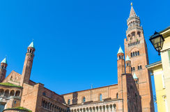 The architectures of Cremona. Italy, Cremona, the apse of the cathedral and the `Torrazzo Stock Images