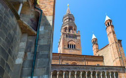 The architectures of Cremona. Italy, Cremona, the apse of the cathedral and the `Torrazzo Stock Image