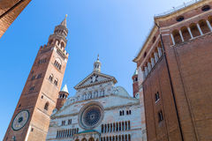 The architectures of Cremona. Italy, Cremona, Duomo Square, the cathedral facade and the `Torrazzo` bell tower Stock Images