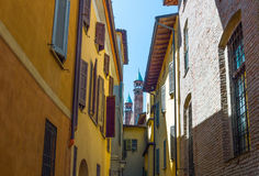 The architectures of Cremona. Italy, Cremona, the houses of Porta Marzia street Royalty Free Stock Photography