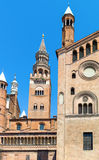 The architectures of Cremona. Italy, Cremona, the side facade of the cathedral and the `Torrazzo` bell tower Stock Images