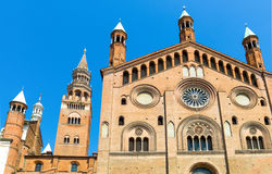 The architectures of Cremona. Italy, Cremona, the side facade of the cathedral and the `Torrazzo` bell tower Stock Photography