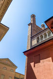 The architectures of Cremona. Italy, Cremona, upward view of  of the side facade of the cathedral Royalty Free Stock Image