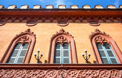 The architectures of Cremona. Italy, Cremona,  upward view of the Trecchi palace facade Royalty Free Stock Photo