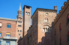 The architectures of Cremona. Italy, Cremona, view of the old town center towers from Stradivari square Royalty Free Stock Photo